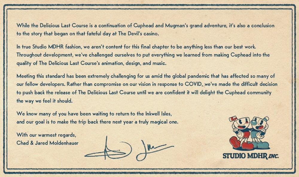 Cuphead - Разработчики перенесли DLC The Delicious Last Course на 2021 год