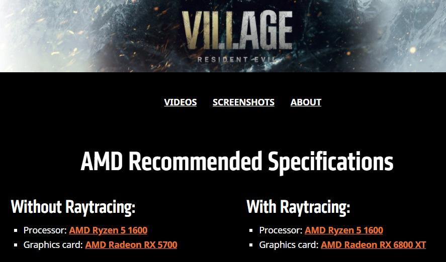 Resident Evil Village - AMD рекомендует для игры с трассировкой лучей RX 6800 XT