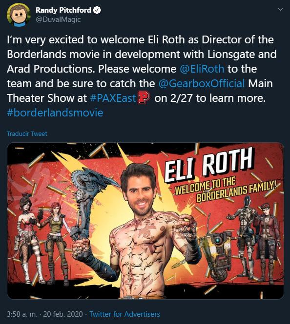 Рэнди Питчфорд объявил режиссера экранизации Borderlands в Twitter, но потом передумал