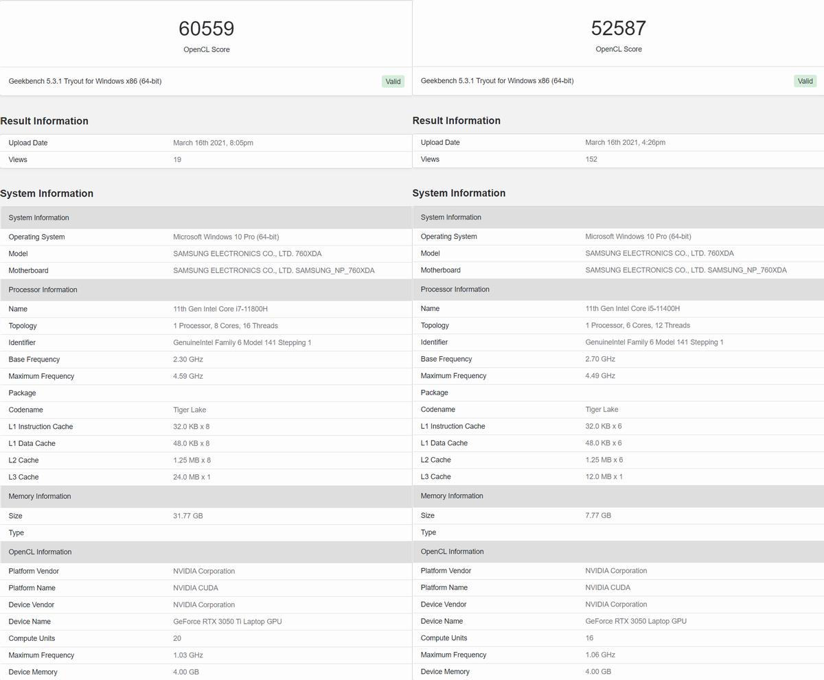 NVIDIA RTX 3050 Ti засветилась в Geekbench