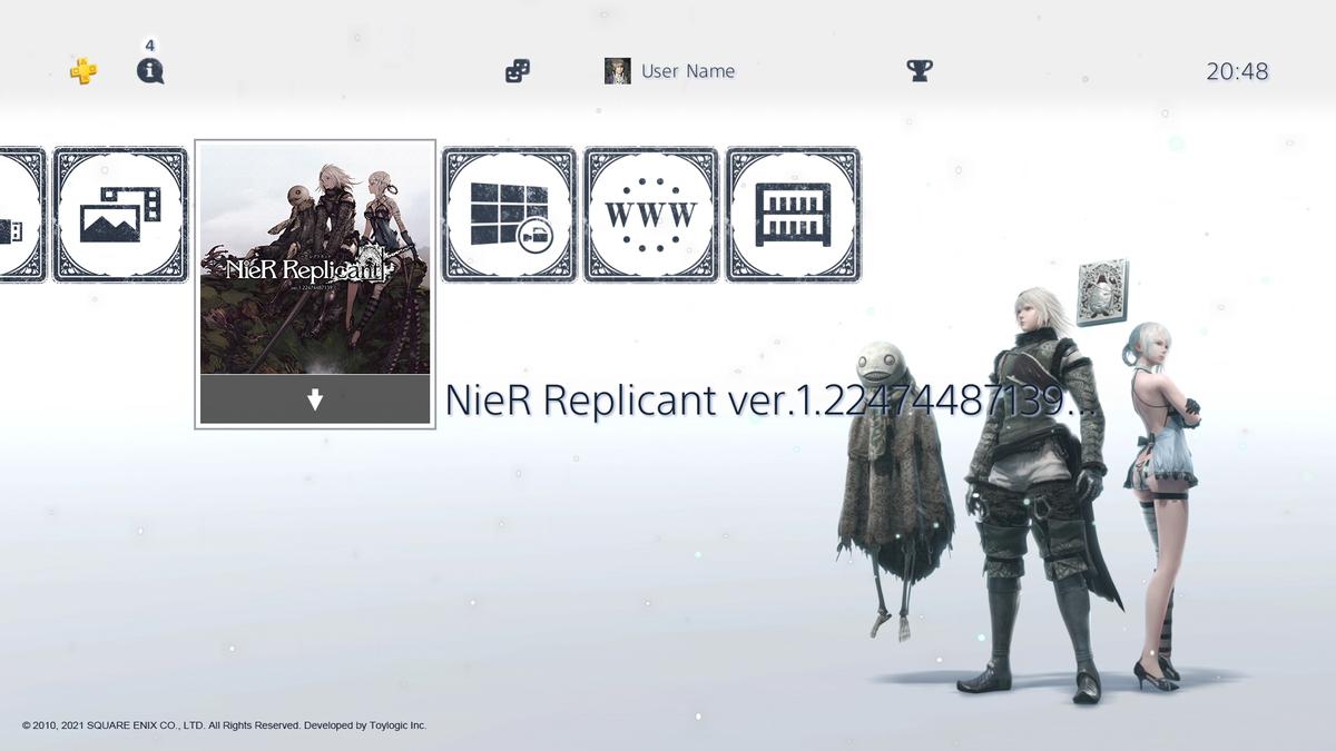 NieR Replicant ver.1.22474487139  Тема для PS4 и набор аватаров с папой-Ниером