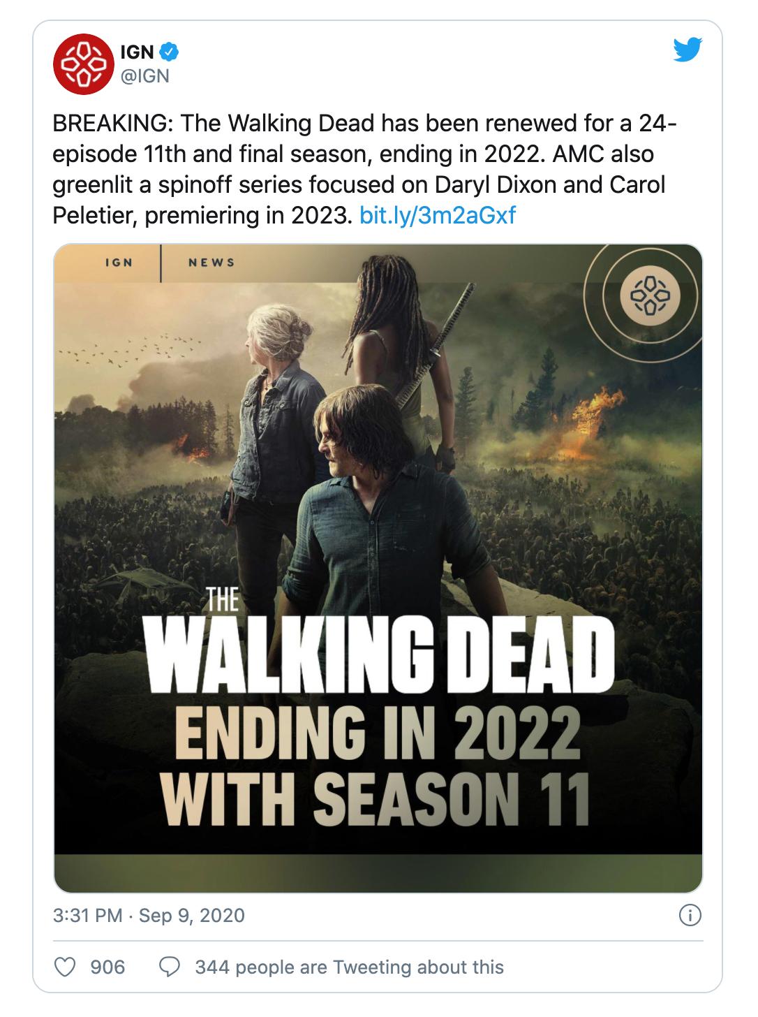 [IGN] «Ходячие мертвецы» наконец упокоятся с миром в 2022 году с финалом 11-го сезона. Но спин-оффы останутся
