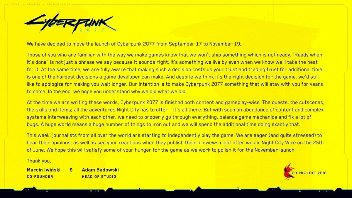 Cyberpunk 2077 - Релиз игры снова был отложен