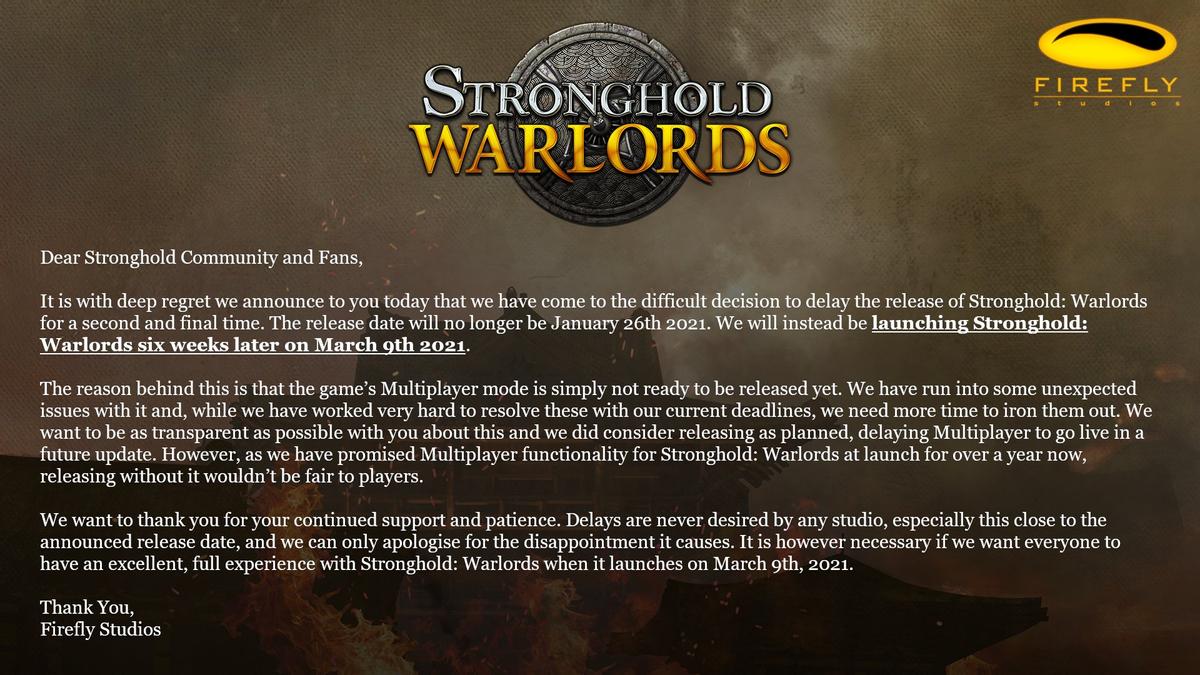 Stronghold Warlords - Релиз отложен на полтора месяца